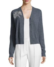 Embellished Long-Sleeve V-Neck Cardigan, Gray