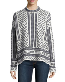 Long-Sleeve Embroidered Sweater, Gray/White