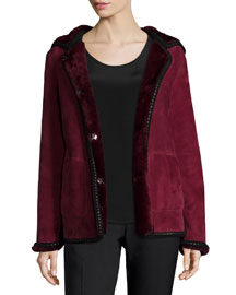 Hooded Shearling Fur Jacket with Crochet Edge