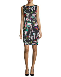 Cubist-Print Sheath Dress