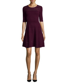 Textured-Stitch Fit-and-Flare Dress