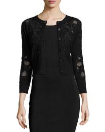 Cooper Lace-Trim Cropped Sweater, Black