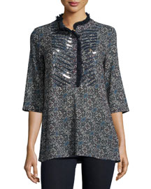 Jasmine Embellished Tunic, Navy Mosaic Jewel