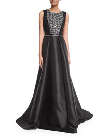 Sleeveless Beaded Combo Gown, Black