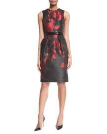 Sleeveless Floral Cocktail Sheath Dress, Crimson/Black