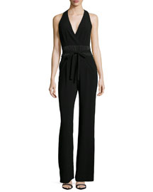 Halter-Neck Jumpsuit W/Sash, Black