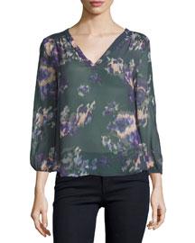 3/4-Sleeve Floral-Print Georgette Top