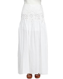 Floral Lace and Cotton Maxi Skirt