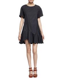 Scalloped Cotton Poplin Dress, Black