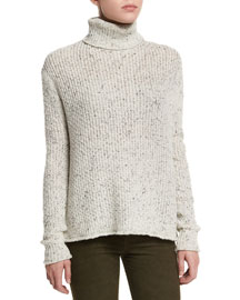 Fernwood Turtleneck Speckled Sweater, White