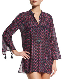 Lisa Floral-Print Tunic Coverup