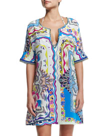 Floral-Print Fringed Tunic Coverup