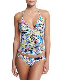 Paisley-Print Tankini Swim Set