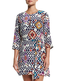 Sophie Geometric-Print Silk Dress