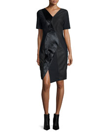 Mariah Mixed-Media Sheath Dress, Black