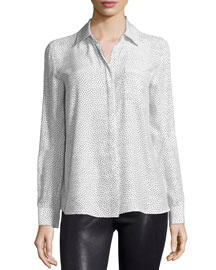 Le Boyfriend Classic Shirt, White/Black Polka Dot