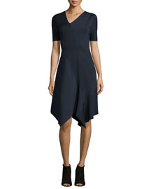 Racinda Short-Sleeve Handkerchief Dress