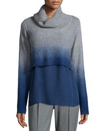 Raleigh Cashmere Ombre Turtleneck Sweater w/ Underpinning
