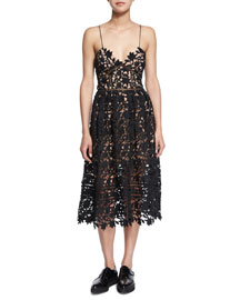 Azaelea Guipure-Lace Illusion Dress, Black