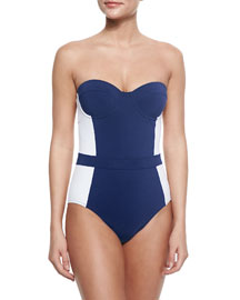 Lipsi Two-Tone One-Piece Swimsuit, Navy/Ivory