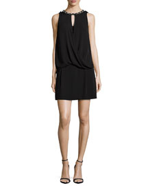 Sleeveless Rhinestone-Trim Silk Dress, Black