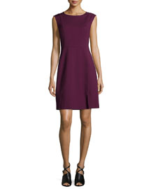 Sleeveless Mesh-Trim Ponte Sheath Dress, Oxblood