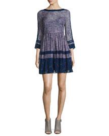 3/4-Sleeve Silk Static-Print Flare-Hem Dress, Dewberry