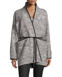 Tweed Tie-Waist Jacket, Black/White
