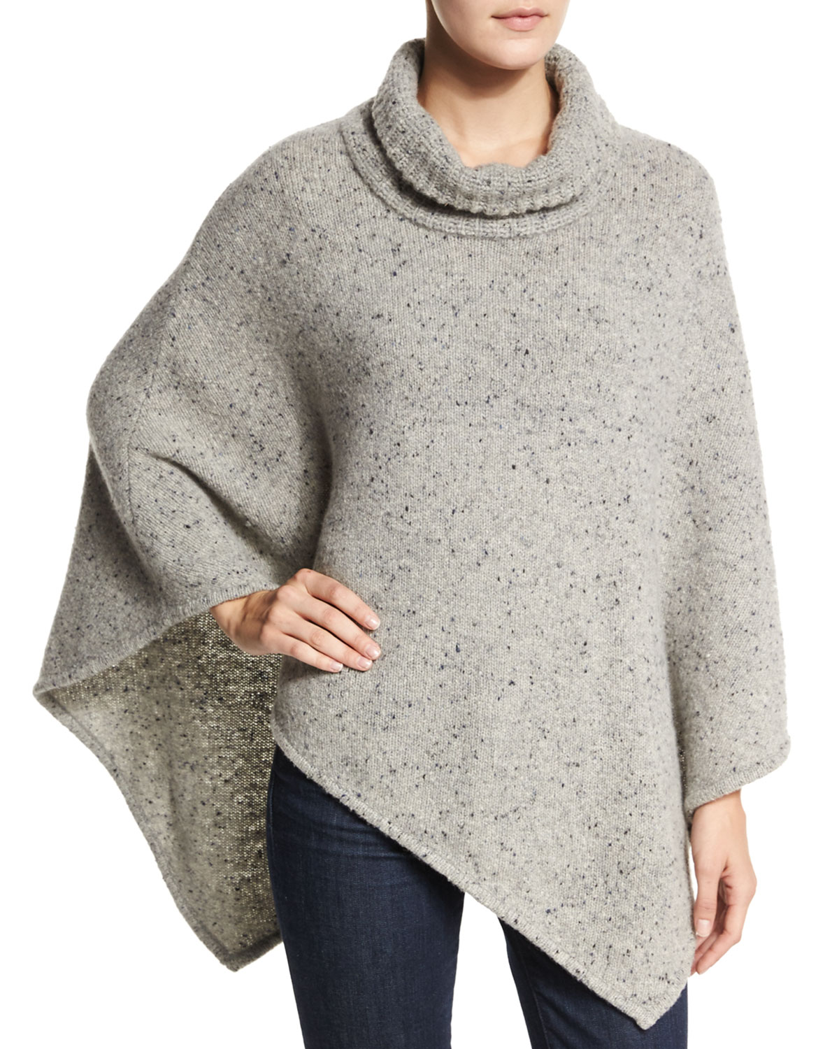 Joie Haesel Speckled Cashmere Poncho, Size: MEDIUM/LARGE, Lt Heather Gray