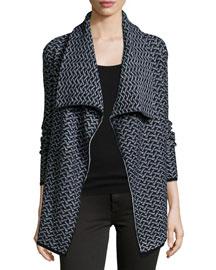 Jamilee B Printed Wool-Blend Cardigan
