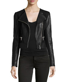 Iridessa Asymmetrical-Zip Leather Jacket