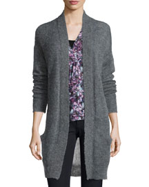 Long-Sleeve Pointelle-Knit Cardigan, Gray