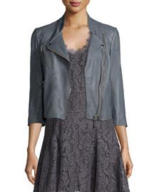 Casella Asymmetrical-Zip Leather Jacket