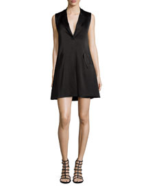 Indiana Cross-Front Tuxedo Dress, Black