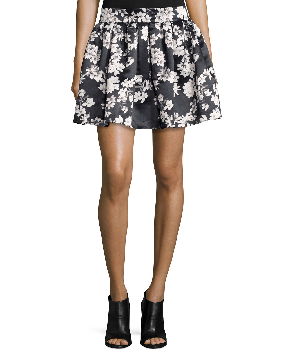Alice + Olivia Fizer Southern Blossom Pleated A-Line Skirt, Black/White, Size: 12, Multi Colors