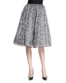 Benita Melodic Swirl Silk A-Line Skirt, Gray/Black