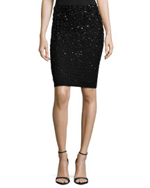 Ramos Embellished Pencil Skirt, Black