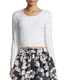 Ora Cropped Wool Cardigan Sweater, White
