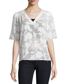 Short-Sleeve Magnolia Sheer V-Neck Top, Chalk