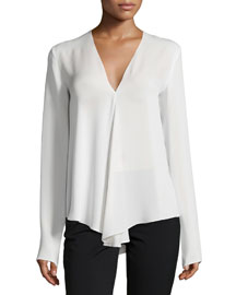 Meniph Long-Sleeve Silk Top