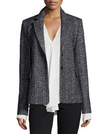 Teshonna Two-Button Distinct Blazer, Black/White