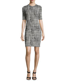 Rijik B. Configure Sheath Dress, Black/Eggshell