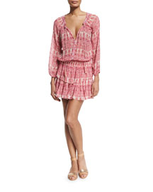 Printed Ruffle-Skirt Popover Dress