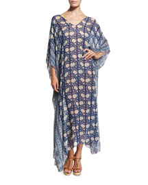 Athena Floral-Print Caftan Coverup, Blueberry