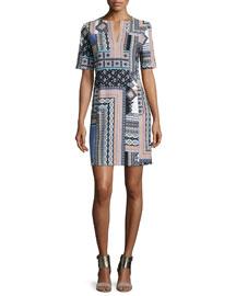 Patchwork-Print Tunic Dress