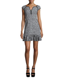Cap-Sleeve Tweed Dress W/ Fringe Hem