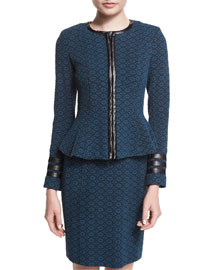 Zip-Front Textured Collarless Jacket