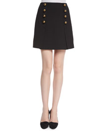 A-Line Mini Skirt with Button Detail