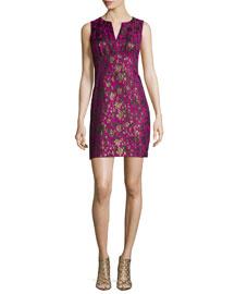 Sleeveless Floral Jacquard Sheath Dress