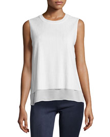 Sleeveless Blouse with Mesh Overlay